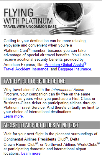 American Express Platinum Two Fly For The Price Of One