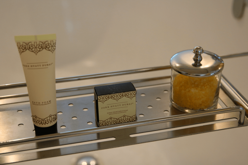 ParkHyattDubaiSuiteToiletry, ParkHyattDubaiBalcony, ParkHyattDubai, World Travel Adventurers, WorldTravelAdventurers, Luxury, Luxury travel, luxury resort, hotel review, Park Hyatt, Dubai, romantic getaway, dream vacation, suite, bath amenities