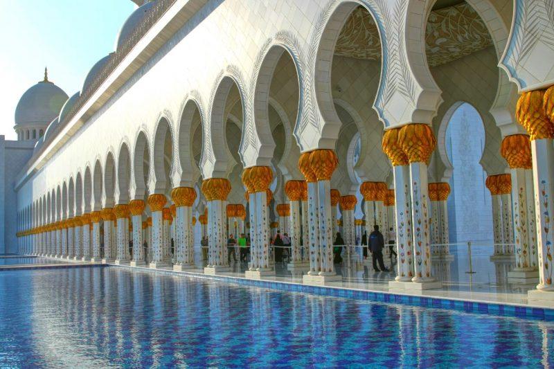 Sheikh Zayed Grand Mosque, Abu Dhabi, United Arab Emirates, UAE, architecture, art, world travel adventurers, WorldTravelAdventurers, luxury travel, luxury, prayer hall, arcades, reflecting pool
