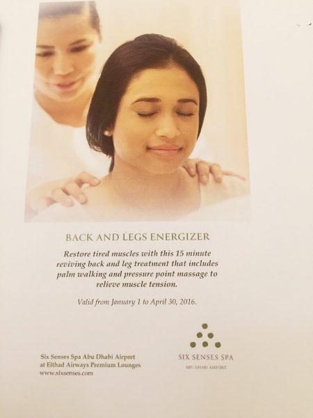 Free massage at Six Senses Spa in Etihad Premium Lounge Abu Dhabi