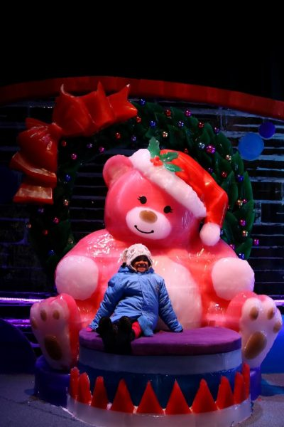 ICE! Christmas Around the World Gaylord National Christmas on the Potomac National harbor luxury resort DC holiday attraction family activity world travel adventurers WorldTravelAdventurers Teddy bear