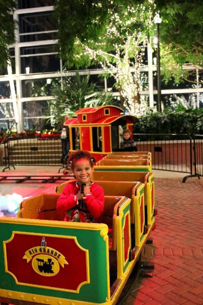 Gaylord National Christmas on the Potomac National harbor luxury resort DC holiday attraction family photo world travel adventurers Potomac Express train atrium