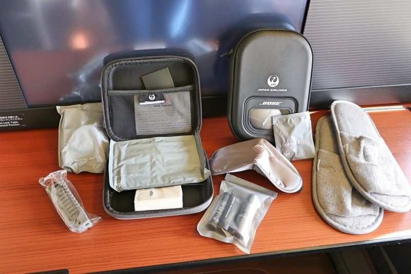 First class amenities on Japan Airlines