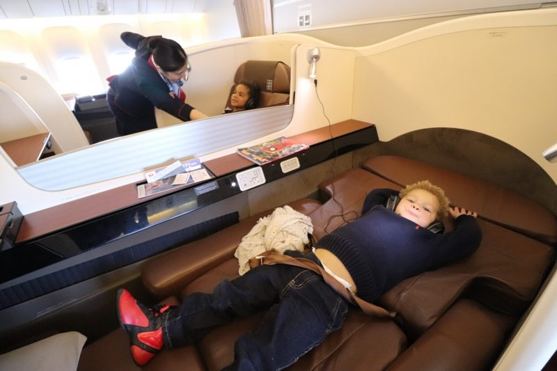 Flying first class with kids