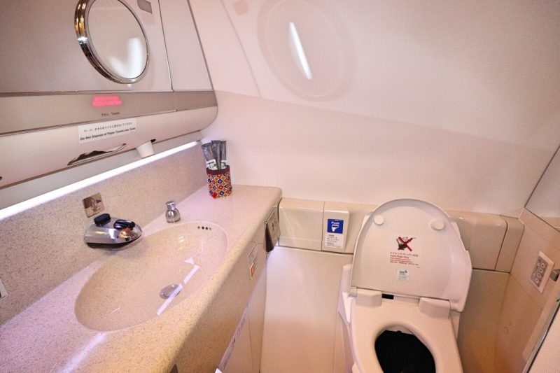 Japan Airlines bathroom in first class